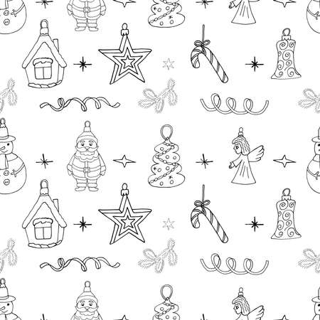Christmas sketch pattern with hand drawn holiday icons. Seamless Christmas design for winter season.