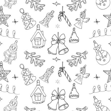 Christmas pattern with hand drawn holiday icons. Seamless Christmas doodle design for winter season. Illustration
