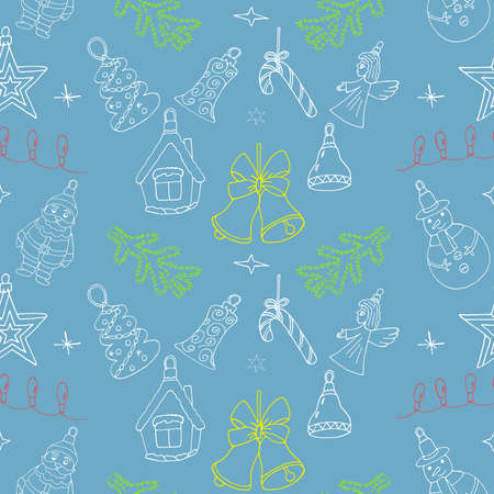 Christmas pattern with hand drawn holiday signs. Reiterate Christmas design for winter. Illustration