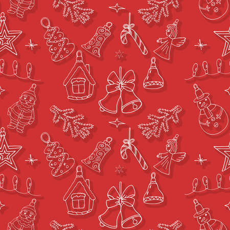 Christmas pattern with hand drawn holiday elements. Art Christmas design for winter. Illustration