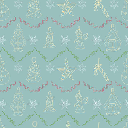 Christmas cozy wallpaper. Hand drawn Santa Claus, tree, star, branch  and more. Decoration sketch doodles pattern. Art vector illustration. Vettoriali