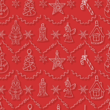 Christmas art wallpaper. Background with Santa Claus, tree, star, branch and more. Decoration sketch doodles pattern. Hand drawn vector illustration.