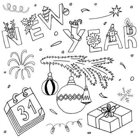New Year and Christmas hand drawn collection. Holiday set with event icons and hand written text. Sketch for greeting design.