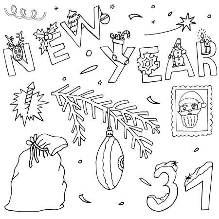 Art hand drawn collection for New Year and Christmas season. Holiday set with event icons and hand written text. Sketch for greeting design.