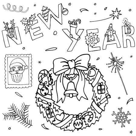 Hand drawn New Year and Christmas set. Celebration drawing collection with event icons and hand written text. Sketch for greeting design.