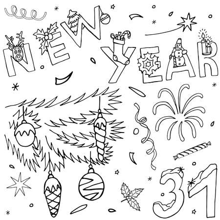 Christmas and New Year hand drawn kit. Celebration doodle collection with event icons and hand written text. Drawing elements and symbols. Sketch for greeting design.