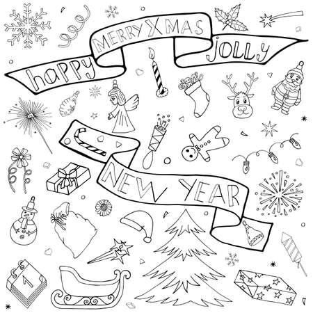 Winter Event hand drawn set. Christmas and New Year doodle kit with hand drawn icons and hand written text. Isolated drawing elements and symbols. Cute Sketch for season greeting.