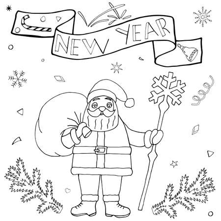 Winter hand drawn set with Santa Claus. Christmas and New Year doodle kit with hand drawn icons and hand written text. Cute Sketch for season greeting. Vettoriali