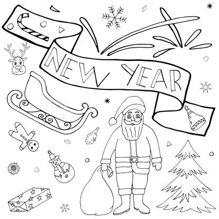 Santa Claus hand drawn set. Christmas and New Year art doodle kit with hand drawn icons and hand written text. Cute Sketch for season greeting.