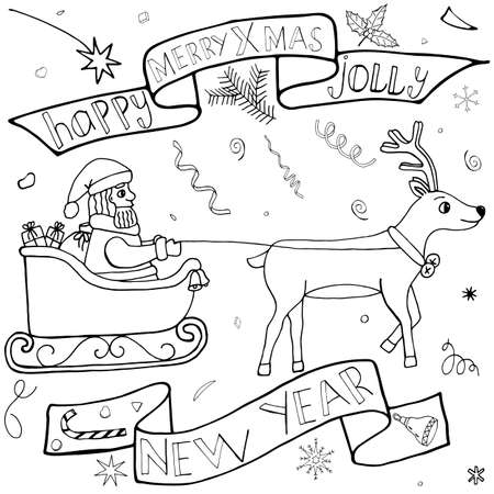 Santa Claus on a sleigh hand drawn set. Christmas and New Year doodle kit with hand drawn icons and hand written text. Cute Sketch for season greeting.