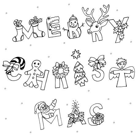 Merry Christmas calligraphic hand written text. Creative Xmas lettering design with hand drawn elements and symbols. Hand drawn font for greeting and invitation template.