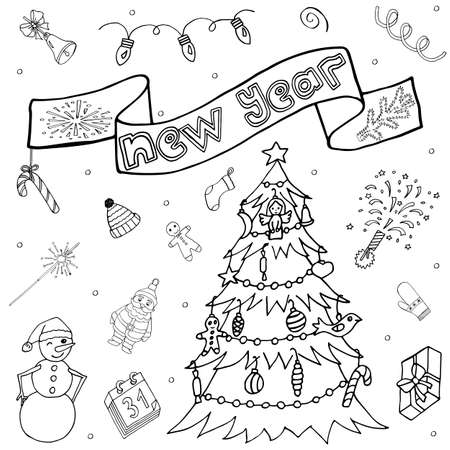 Christmas and New Year Eve hand drawn set. Winter celebration wish. Doodle kit with hand drawn icons and hand written text. Sketch for season greeting.