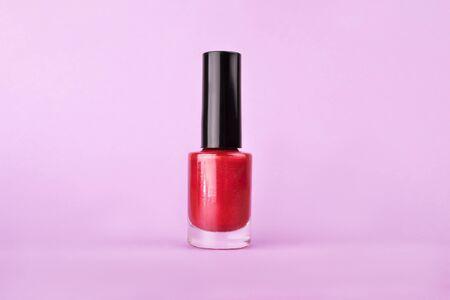 Perfect bright sparkling colorful nail polish bottle Stok Fotoğraf