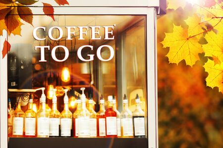 Coffee to go shop in autumn park, bright colors Stok Fotoğraf