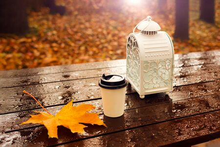 Coffee paper cup with maple leaves and candle lattern on wet wooden table outdoors