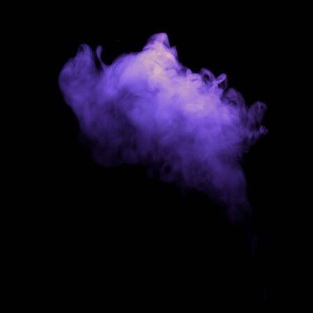 Misty violet helloween fog smoke, isolated on black