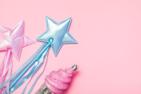 Candy pink blue stars with ice cream flat lay on rose background