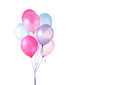 Pastel color balloons bunch isolated on white, space for text Stok Fotoğraf