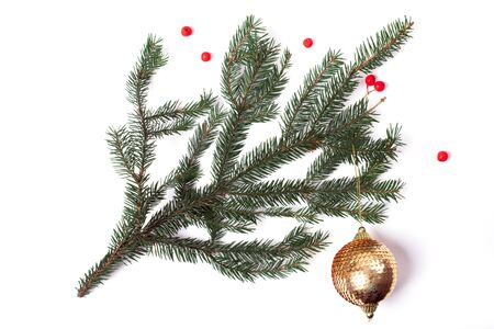 Christmas tree pine branch with red berries and sparkling ball isolated on white background Stok Fotoğraf