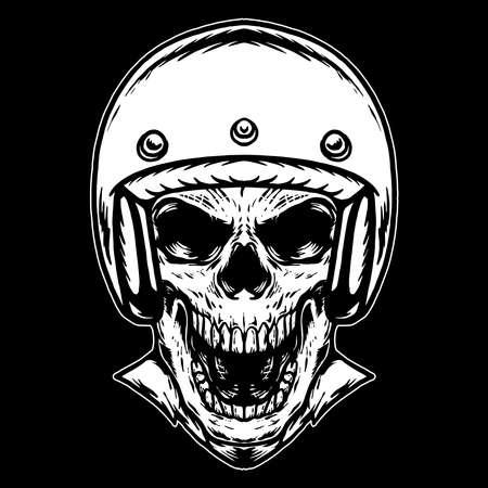 Skull with Helmet vector illustration Ilustração Vetorial