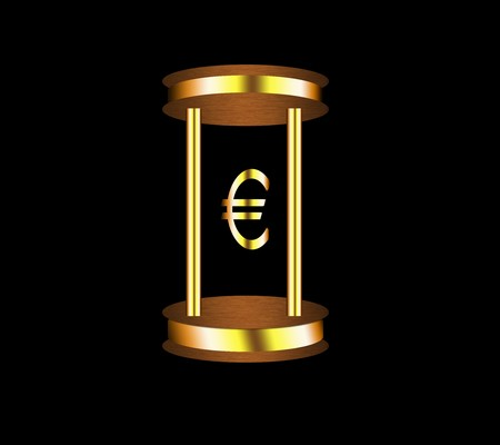 currency glitter: Euro sign on a stand