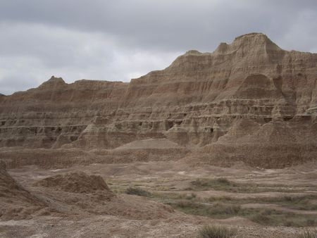 rock grouping from the Badlands in South Dakota who natural terraces. Stock Photo