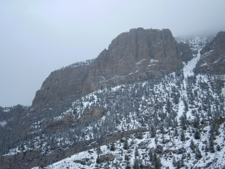 Snow covered mountain side in Wyoming. Stock Photo