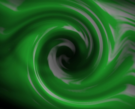 Green fluid swirl. Liquid into a drain.