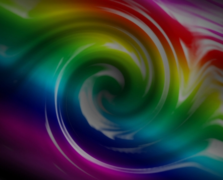 Rainbow colored swirl design. Liquid into a drain.