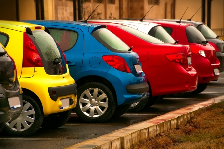 Automobiles of different colors photo