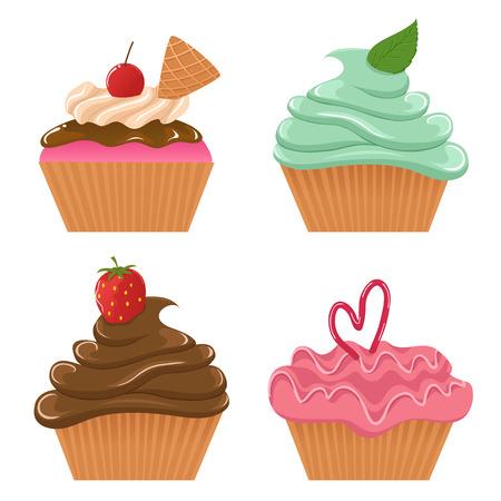 raspberry pink: Set of cute cupcakes