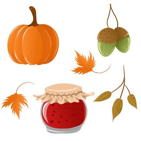 thanksgiving day symbol: Cute autunno icon set Vettoriali