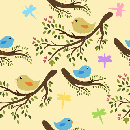 Nahtlose Birdies Hintergrund  Illustration