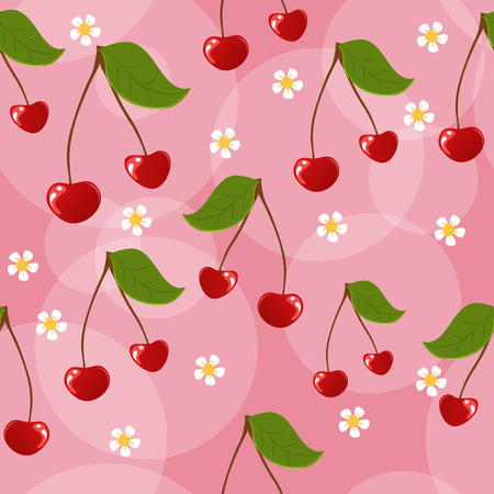 Seamless cherries background Vector