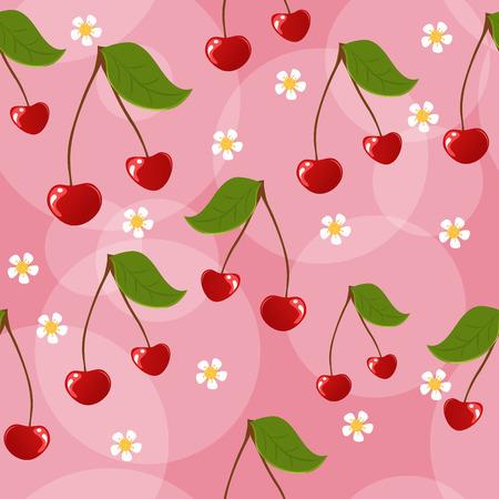 Seamless cherries background