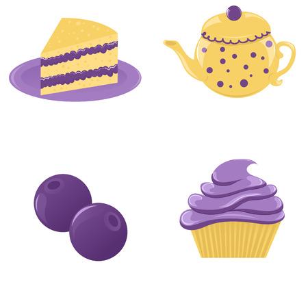 Set of blueberry desserts Illustration