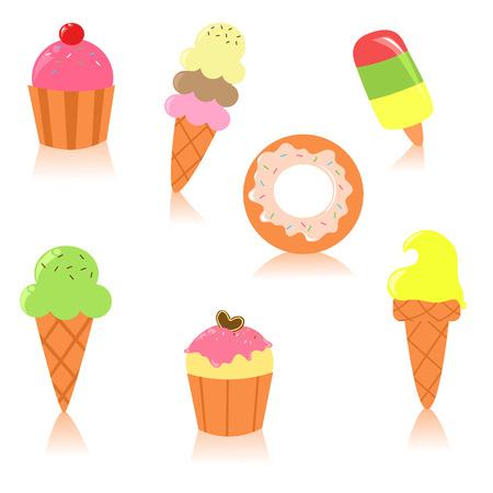 Leuke set van desserts  Stock Illustratie