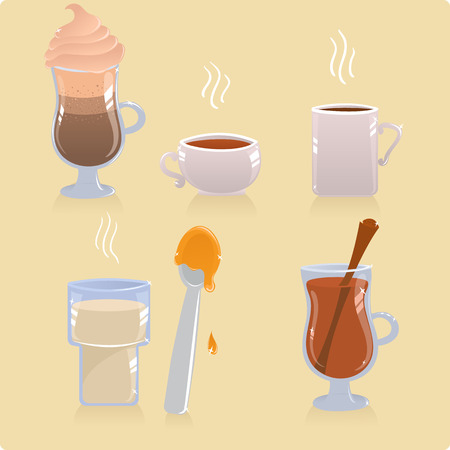 Set of hot drinks