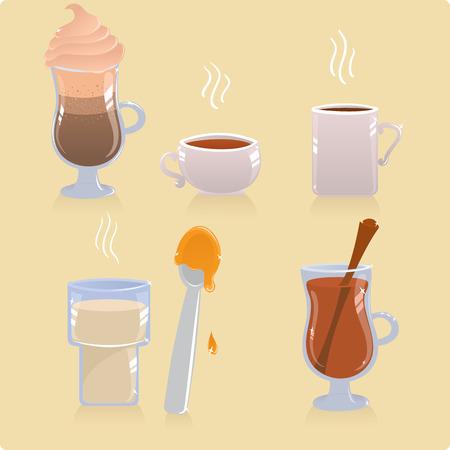 Set of hot drinks