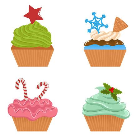 raspberry pink: Christmas cupcakes Illustration