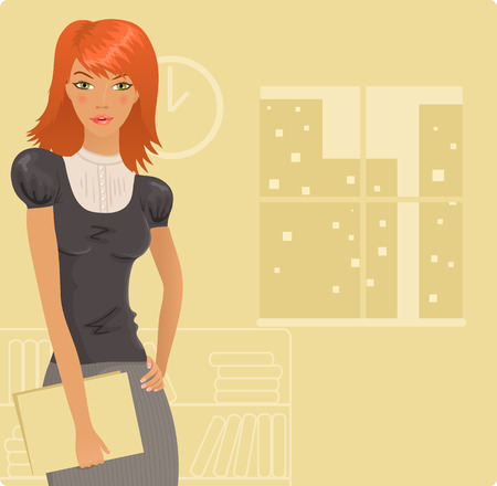 redhead woman: Office girl Illustration