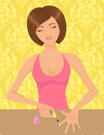 aseo personal: Chica aplicar el esmalte de u�as