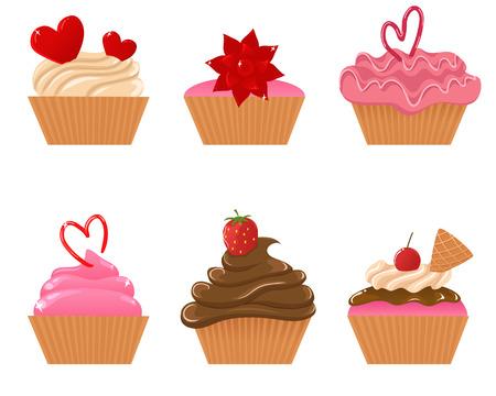 Valentine cupcakes Vector