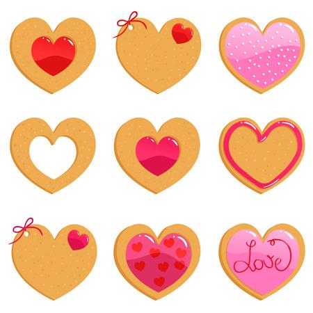 holiday cookies: Cookies de Valentine Vectores