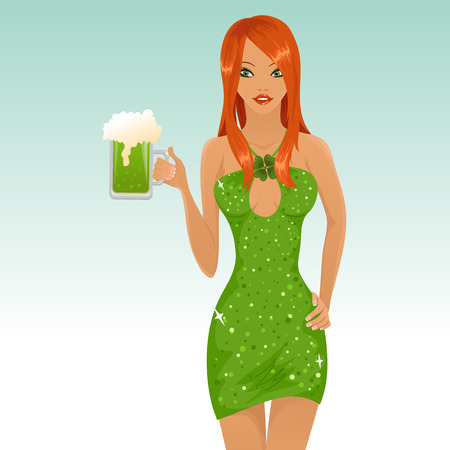Sexy leprichaun girl holding a glass of beer