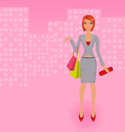 Shopping business lady Vector