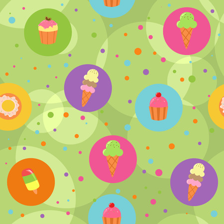 Seamless green cute pastry background