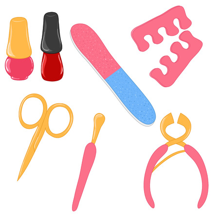 nail scissors: Set of manicure tools Illustration