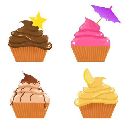 Set cupcakes Stock Illustratie
