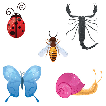cartoon snail: Set of cute insects